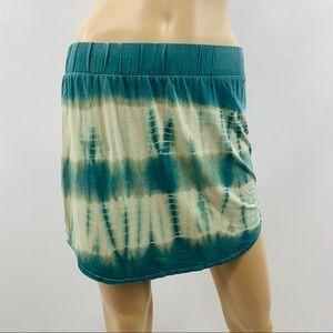 Chaser Blue Green & White Tie Dye Mini Skirt